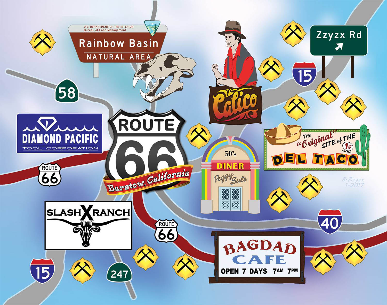 Map of Local Barstow Attractions - Centerfold